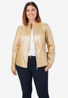 Zip Front Leather Jacket, METALLIC GOLD