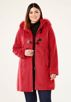 Faux Fur Toggle Coat, BRIGHT RUBY