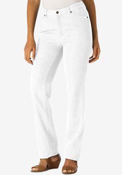 Classic Cotton Denim Straight Jeans, WHITE
