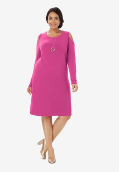 Cold Shoulder Sheath Dress, TROPICAL RASPBERRY
