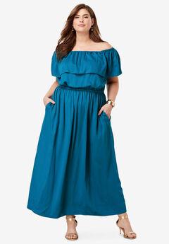 Off-The-Shoulder Maxi Dress, MARINE TEAL
