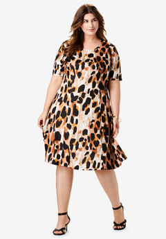 Ponté Knit Elbow Dress with Scoop Neckline, RICH GOLD ABSTRACT CHEETAH