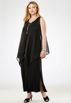 Travel Knit Maxi Dress & Vest Set, BLACK