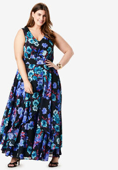 Flyaway Maxi Dress, BLACK WATERCOLOR ROSE