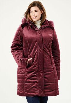 Velvet Puffer Coat, BURGUNDY