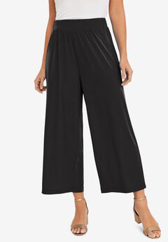 Travel Knit Wide-Leg Crop Pant,