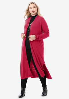 Cotton Cashmere Duster Sweater, CLASSIC RED
