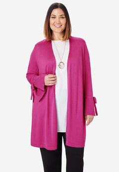 Bell Sleeve Cardigan Sweater, BRIGHT BERRY