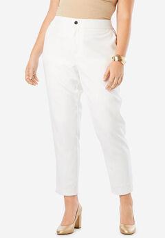 Bi-Stretch Ankle Pant, WHITE