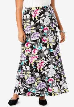 Travel Knit Maxi Skirt, BLACK STRIPE FLORAL