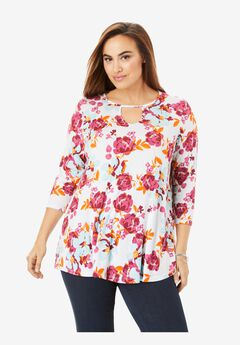 Keyhole Swing Tunic, WHITE FLORAL GARDEN