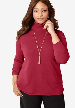 Cotton Cashmere Turtleneck, CLASSIC RED