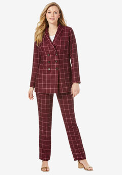 Double-Breasted Pantsuit, RICH BURGUNDY CLASSIC GRID