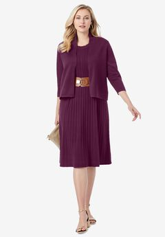 Sweater Jacket Dress, DARK BERRY