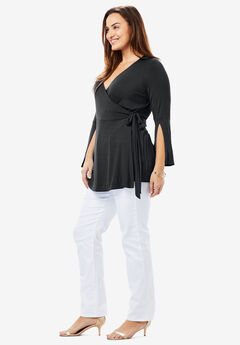 Faux Wrap Tunic, BLACK