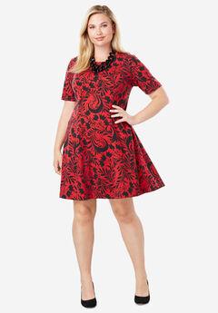 Ponté Knit Elbow Dress with Scoop Neckline, BLACK SCROLL MOTIF