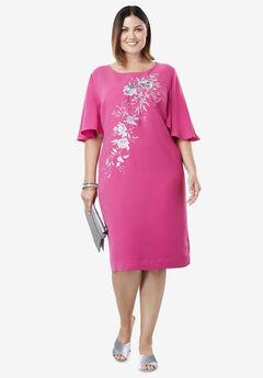 Embroidered Sheath Dress,