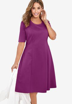 Ponte Flare Dress, PURPLE TULIP