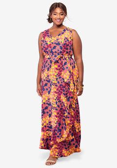 Sleeveless Faux Wrap Tencel® Maxi Dress, CORAL LEAF