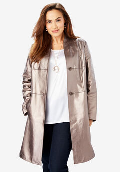 Leather Swing Coat, METALLIC PEWTER
