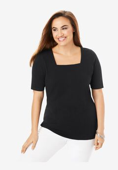 Square Neck Tee, BLACK