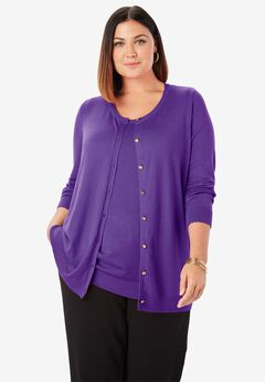 Classic Cardigan Sweater, TRUE PURPLE