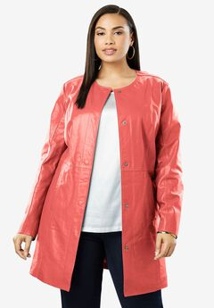 Three-Quarter Leather Jacket, SUNSET CORAL