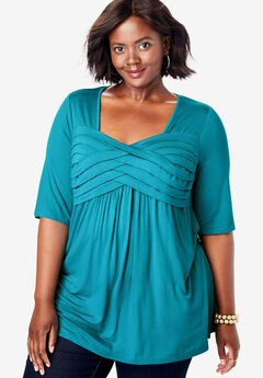 Pleated Tunic, DEEP TURQUOISE