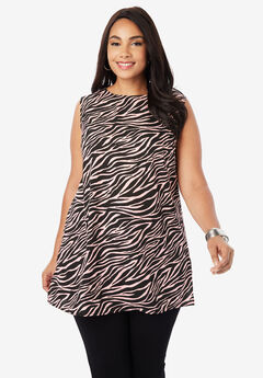 Relaxed Tunic Tank, SOFT BLUSH ZEBRA