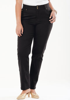 Tummy Control Straight Jean, BLACK