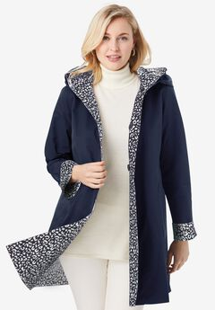 Reversible A-Line Raincoat, NAVY IVORY ANIMAL