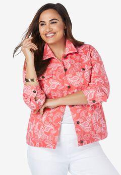 Classic Cotton Denim Jacket, GERANIUM SKETCH PAISLEY