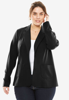 Ponte Knit Blazer with Notch Collar,
