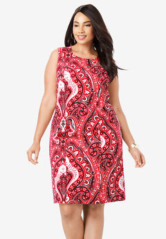 Tummy Control Bi-Stretch Sheath Dress, MEGA RED PAISLEY