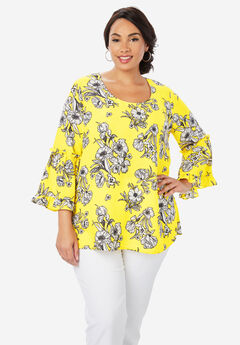 Georgette Flare Blouse, YELLOW SKETCH FLORAL