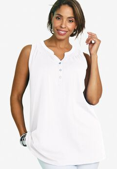Sleeveless Smocked Tunic,