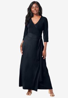 Faux Wrap Maxi Dress, BLACK