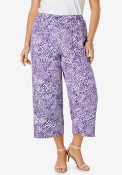 Crop Pants, TRUE PURPLE ABSTRACT WATERCOLOR