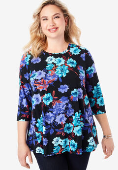 Swing Tunic, BLACK WATERCOLOR ROSE