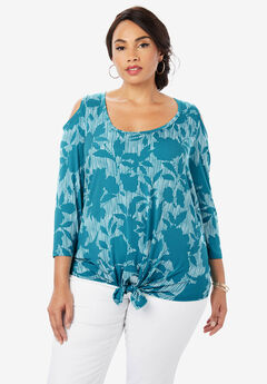 Cold Shoulder Tie-Front Tee, TEAL SHADOW FLORAL