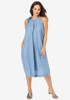 Denim Tie-Neck Dress,