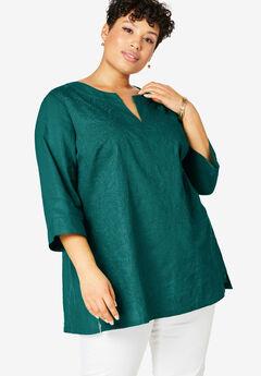 Linen V-Neck Tunic, EMERALD GREEN EMBROIDERY