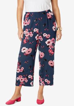 Crop Pants, NAVY MINI BOUQUET