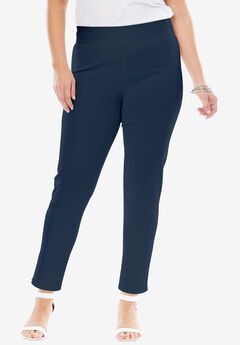 Tummy Control Twill Ankle Pant, NAVY