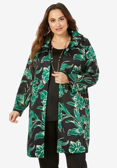 Ruched Collar Jacket, DARK EMERALD BOLD FLOWER