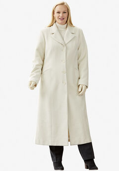 Full Length Wool Blend Coat, IVORY