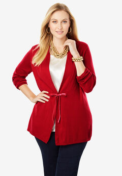Velvet Tie-Front Cotton Cashmere Sweater, BRIGHT RUBY