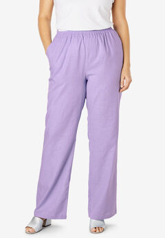Lightweight Linen-Blend Wide-Leg Pants, BRIGHT LILAC