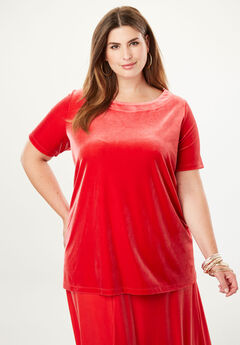 Velour A-Line Tunic, BRIGHT RUBY