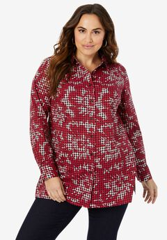 Poplin Tunic, CLASSIC RED FLORAL HOUNDSTOOTH